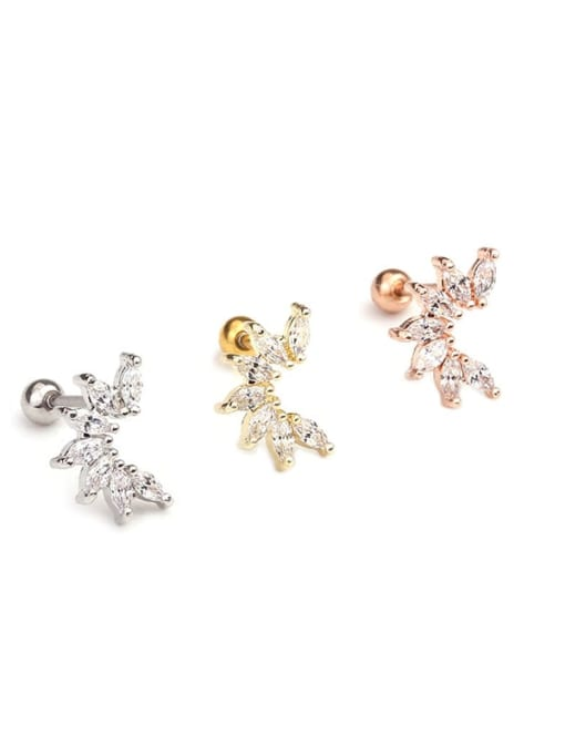 HISON Copper with Cubic Zirconia White Star Dainty Stud Earring(Single) 1
