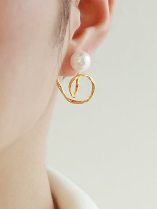 Five Color Brass Imitation Pearl Irregular Minimalist Stud Earring 2