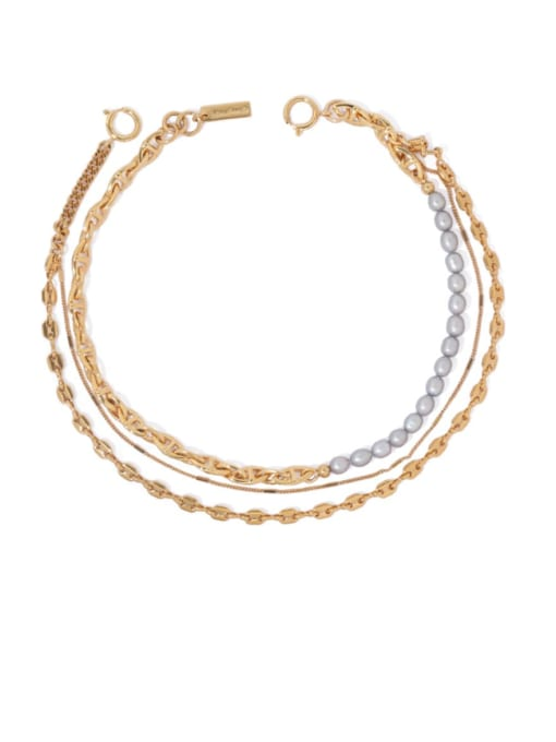 ACCA Brass Freshwater Pearl Geometric Vintage Multi Strand Necklace 2