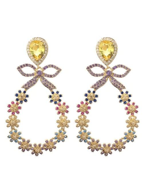 SUUTO Brass Cubic Zirconia Flower Luxury Chandelier Earring 2