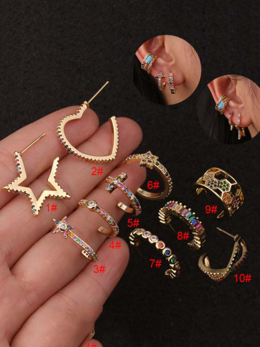 HISON Brass Cubic Zirconia Star Hip Hop Huggie Earring