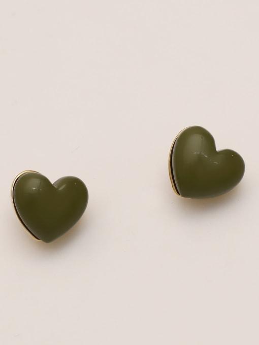 Light green Brass Enamel Heart Minimalist Stud Earring