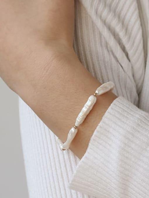 TINGS Brass Freshwater Pearl Geometric Vintage Bracelet 1