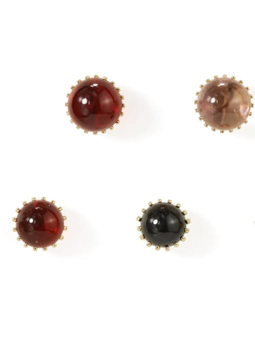 Five Color Alloy Bead Round Cute Stud Earring 1