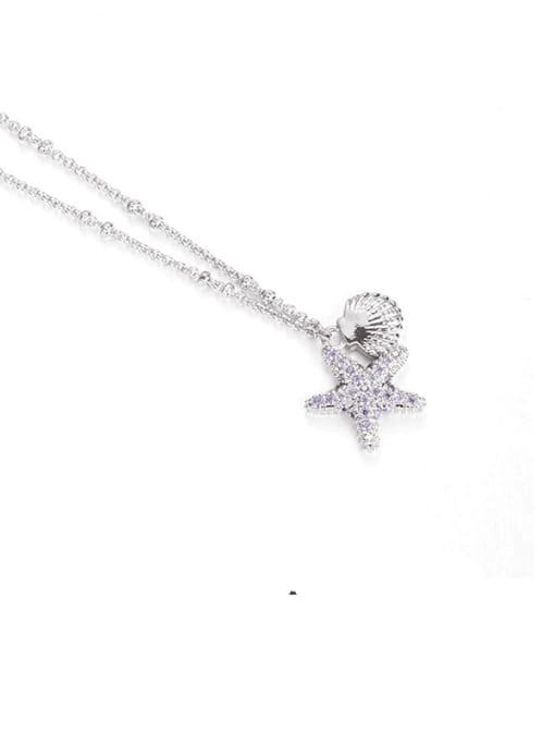 Platinum Brass Cubic Zirconia Star Minimalist Necklace