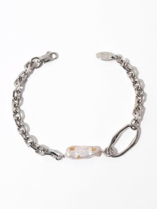 Pearl Bracelet Brass Freshwater Pearl Irregular Vintage Link Bracelet