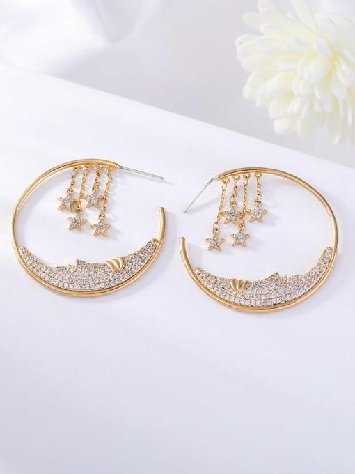 OUOU Brass Cubic Zirconia Geometric Ethnic Huggie Earring