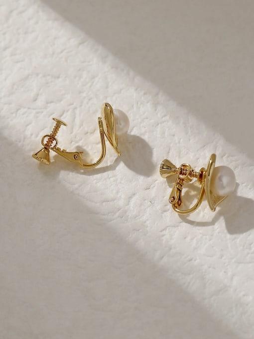 HYACINTH Brass Imitation Pearl Heart Vintage Stud Trend Korean Fashion Earring 3