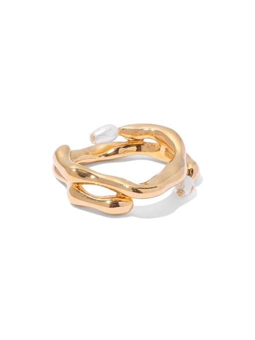 TINGS Brass Imitation Pearl Geometric Vintage Band Ring 3