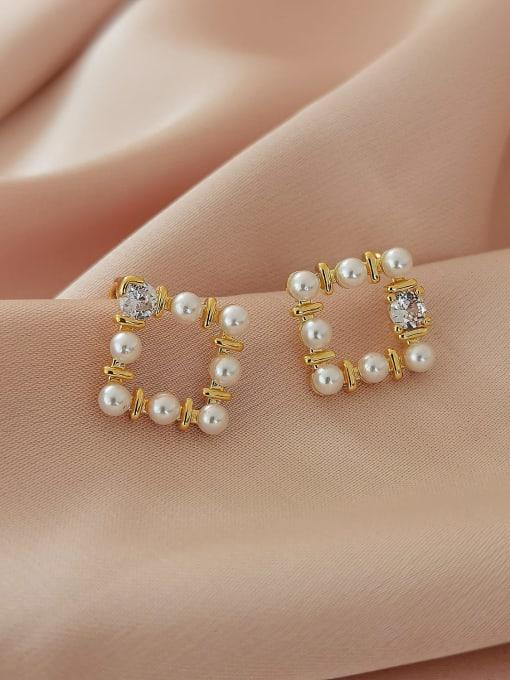 HYACINTH Brass Imitation Pearl Geometric Vintage Clip Earring 3