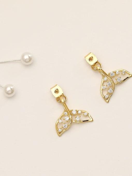 HYACINTH Brass Cubic Zirconia Geometric Cute Stud Earring 1
