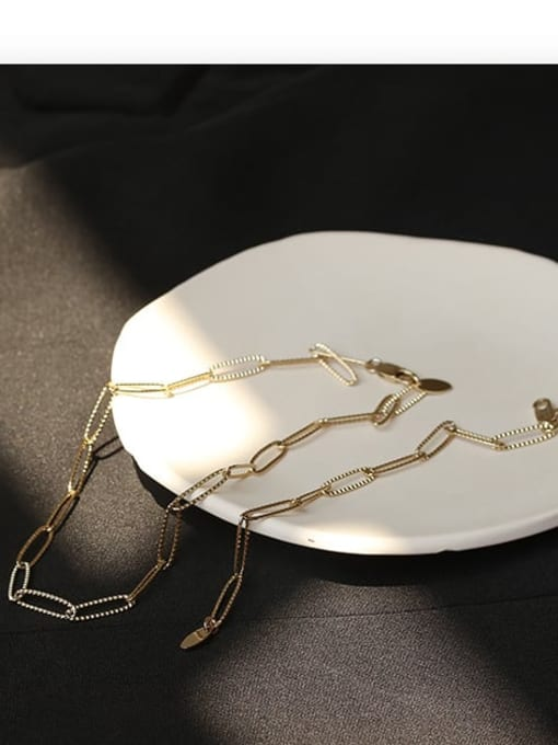 ACCA Brass Hollow Geometric  chain Vintage Necklace 2