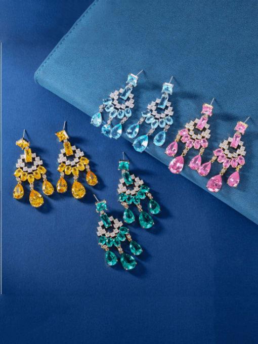 OUOU Brass Cubic Zirconia Tassel Luxury Drop Earring 1