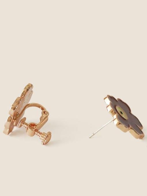 Ear clip (screw clip) Alloy Enamel Flower Minimalist Stud Earring