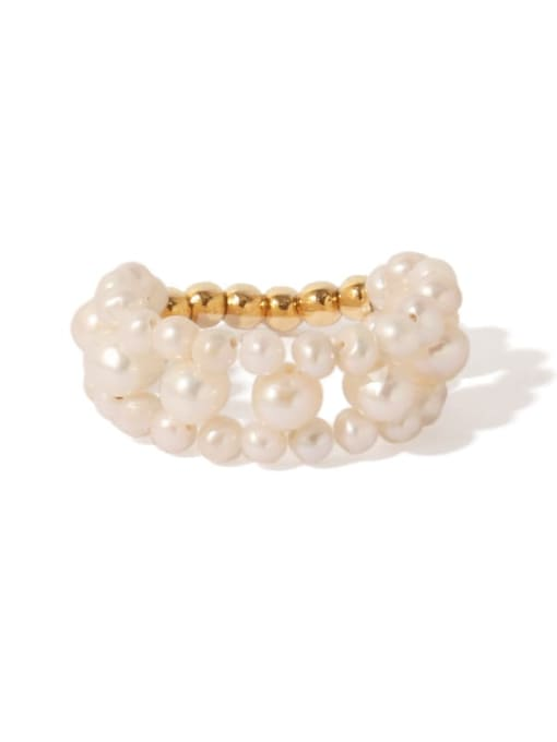 ACCA Brass Freshwater Pearl Round Vintage Band Ring 4