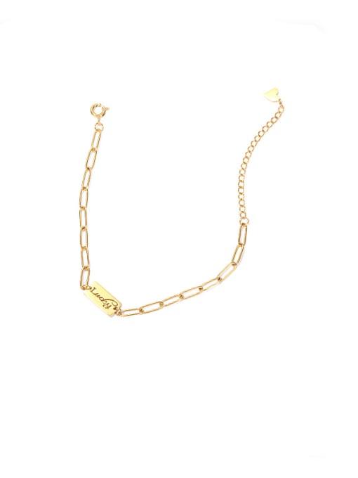 golden Titanium Steel Letter Minimalist Link Bracelet
