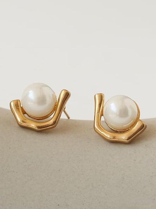 TINGS Brass Imitation Pearl Geometric Vintage Stud Earring 0