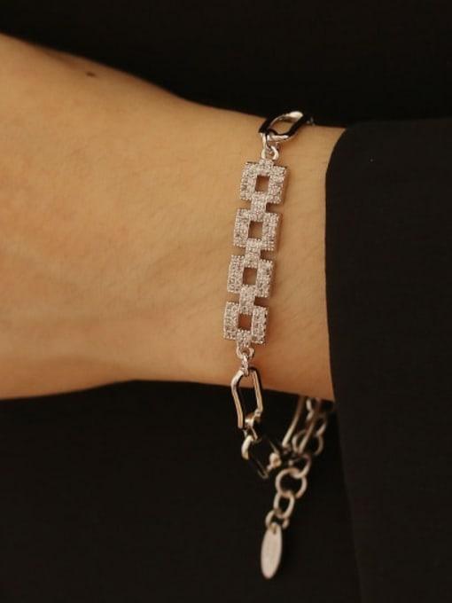 ACCA Brass Cubic Zirconia Geometric chain Vintage Bracelet 1