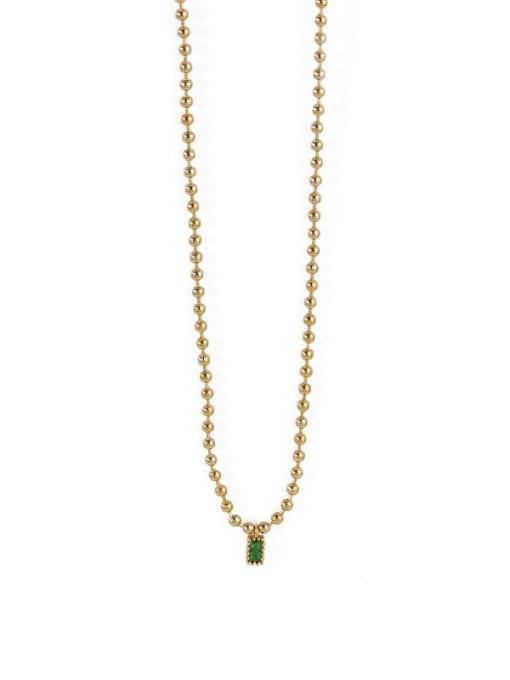 TINGS Brass Bead Chain   Minimalist Geometric Pendant Necklace 3
