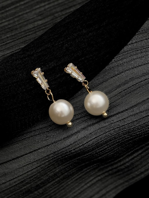 White Pearl 8mm Brass Cubic Zirconia Geometric Minimalist Drop Trend Korean Fashion Earring