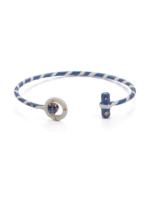 Striped Bracelet Zinc Alloy Enamel Geometric Minimalist Cuff Bangle