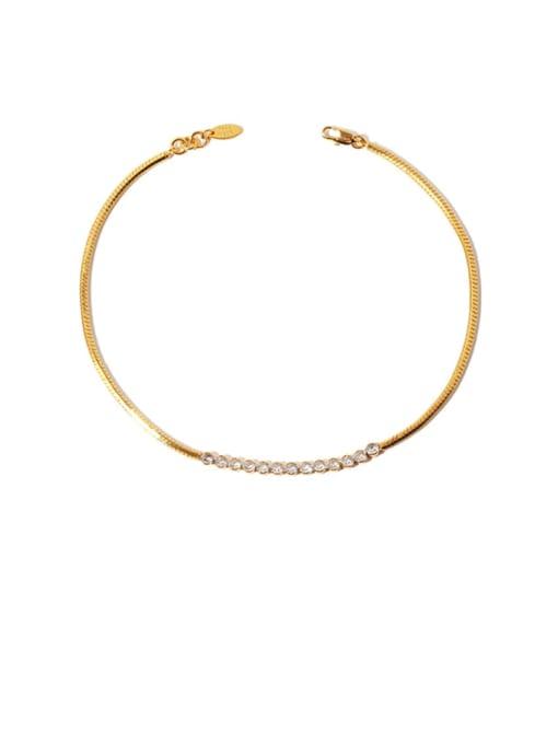 Zircon Necklace Brass Cubic Zirconia Vintage Snake bone chain  Necklace