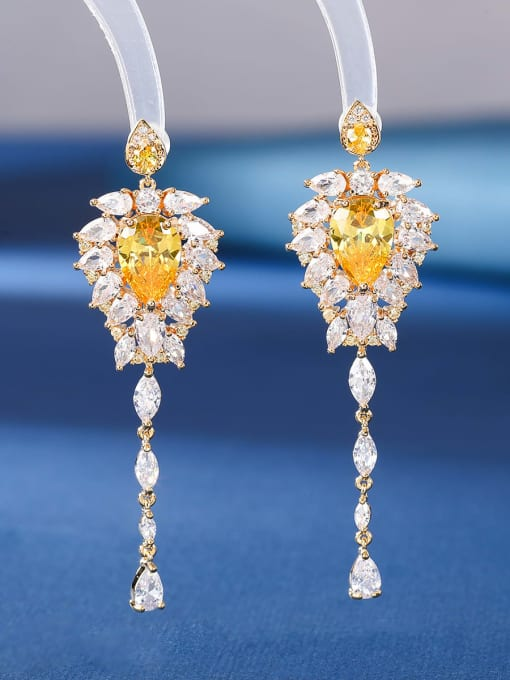 yellow Brass Cubic Zirconia Tassel Luxury Threader Earring