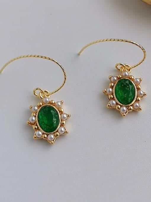 Green Crystal Brass Imitation Pearl Geometric Vintage Hook Earring