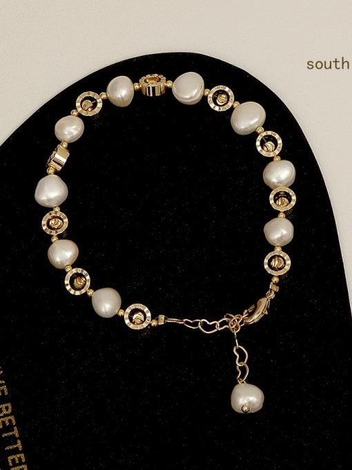 HYACINTH Brass Imitation Pearl Geometric Minimalist Bracelet 1