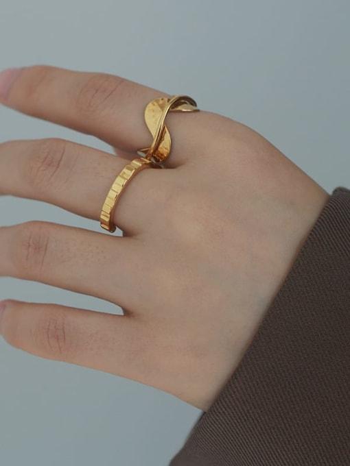 Five Color Brass Irregular Minimalist Band Ring 1