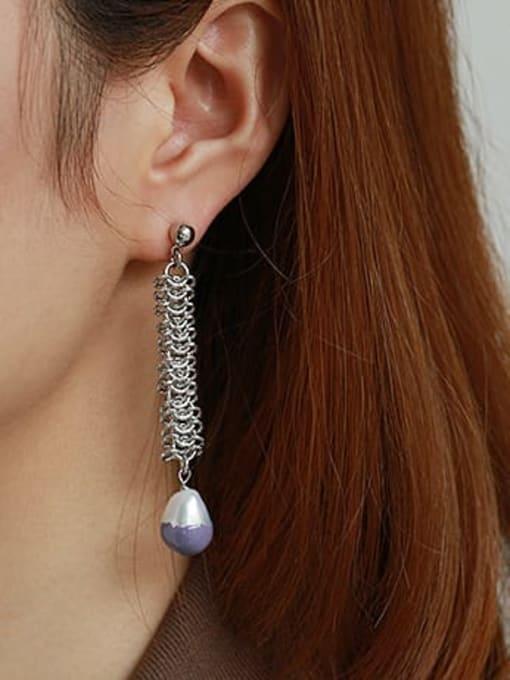 ACCA Brass Enamel Geometric Vintage Asymmetric Drop Earring 1