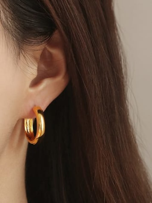Large (single sale) Brass Round Minimalist Huggie Earring(ONLY ONE PCS)
