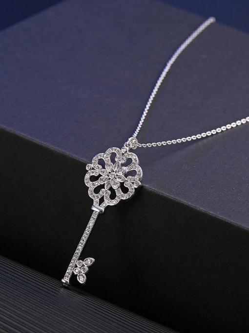YILLIN Brass Cubic Zirconia Key Minimalist Necklace 2