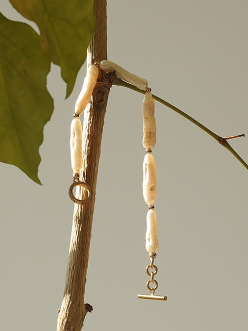 TINGS Brass Freshwater Pearl Geometric Vintage Bracelet 2