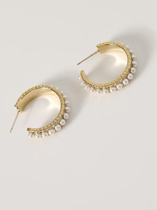 HYACINTH Brass Imitation Pearl Geometric Hip Hop Hoop Earring 4