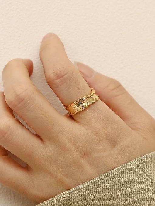 HYACINTH Brass Geometric Minimalist Band Ring 1