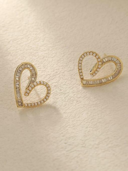 HYACINTH Brass Cubic Zirconia Heart Cute Stud Trend Korean Fashion Earring 2