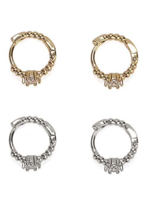 ACCA Brass Cubic Zirconia Geometric Vintage Stud Earring 3