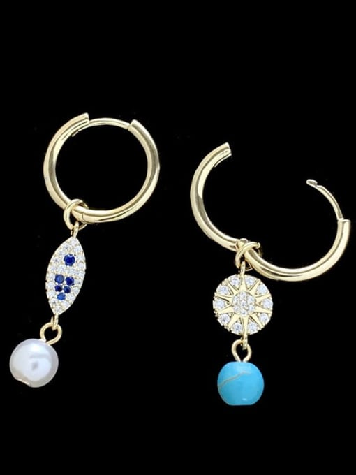 SUUTO Brass Cubic Zirconia Evil Eye Vintage Huggie Earring 1