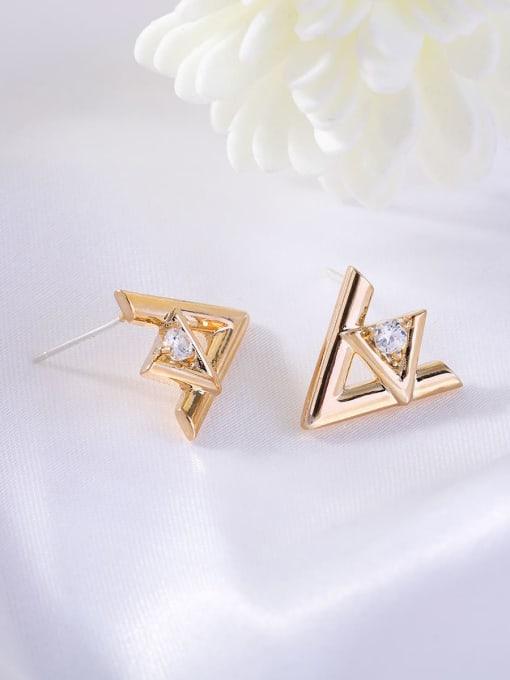 OUOU Brass Rhinestone Triangle Minimalist Stud Earring