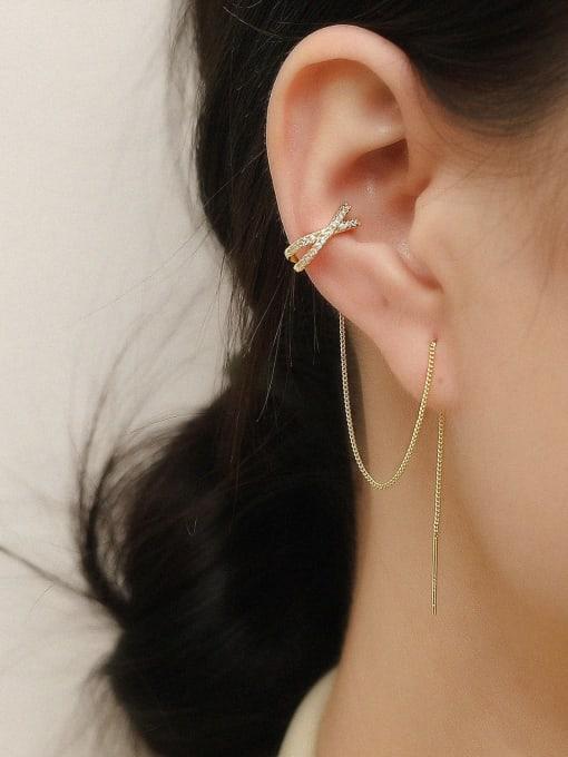 HYACINTH Brass Cubic Zirconia Tassel Minimalist Threader Trend Korean Fashion Earring 1