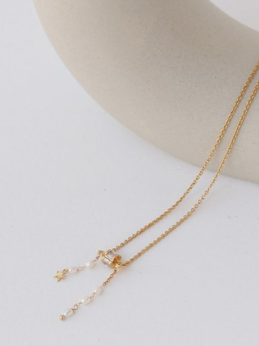 TINGS Brass Cubic Zirconia Tassel Vintage Lariat Necklace 2