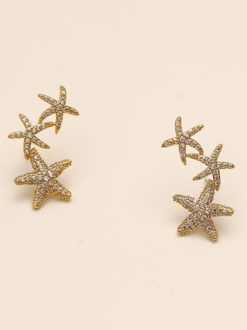 14k Gold Brass Cubic Zirconia Star Classic Stud Earring