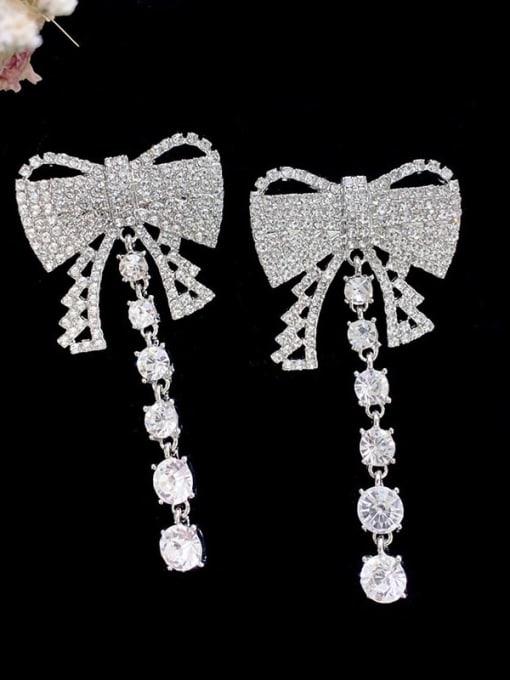 SUUTO Brass Cubic Zirconia Butterfly Luxury Drop Earring 2