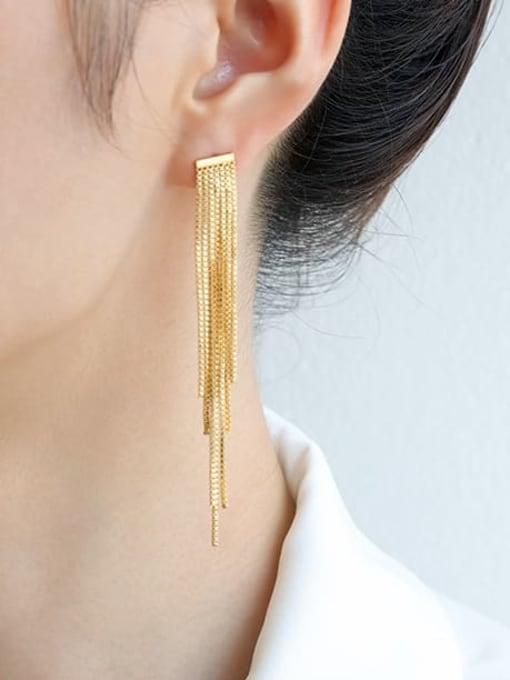 Five Color Brass Tassel Trend Threader Earring 1