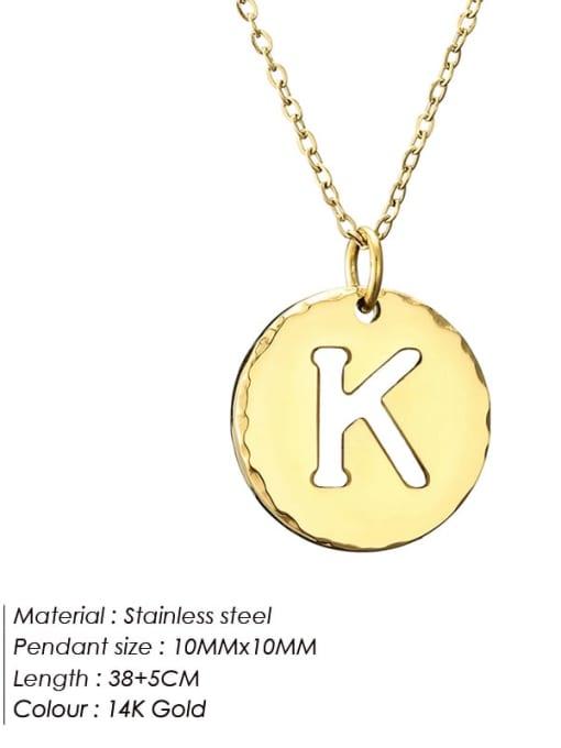 K Titanium Steel Letter Minimalist Round Pendant Necklace