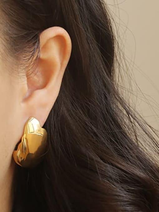 ACCA Brass smooth Geometric Minimalist Stud Earring 1