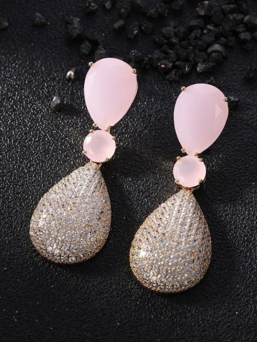 OUOU Brass Cubic Zirconia Water Drop Luxury Drop Earring 1