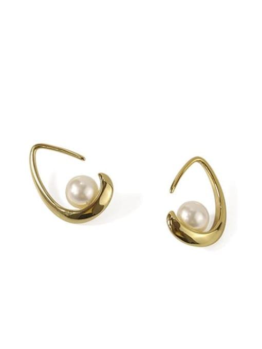 ACCA Brass Imitation Pearl Water Drop Minimalist Stud Earring 2