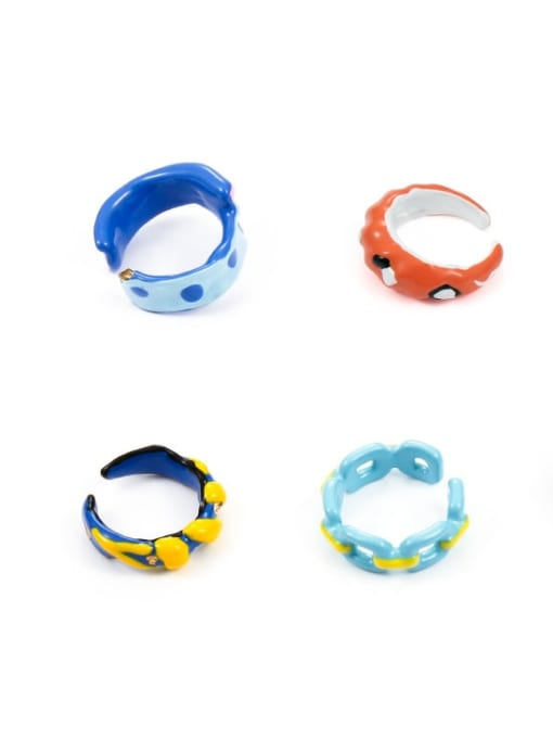 Five Color Zinc Alloy Enamel Irregular Minimalist Band Ring 4